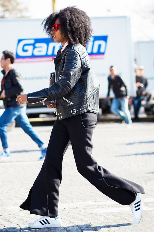Le Fashion Blog 25 Ways To Wear Adidas Sneakers Leather Jacket Wide Leg Pants Superstar Street Style Julia Sarr Jamois Via Style Du Monde
