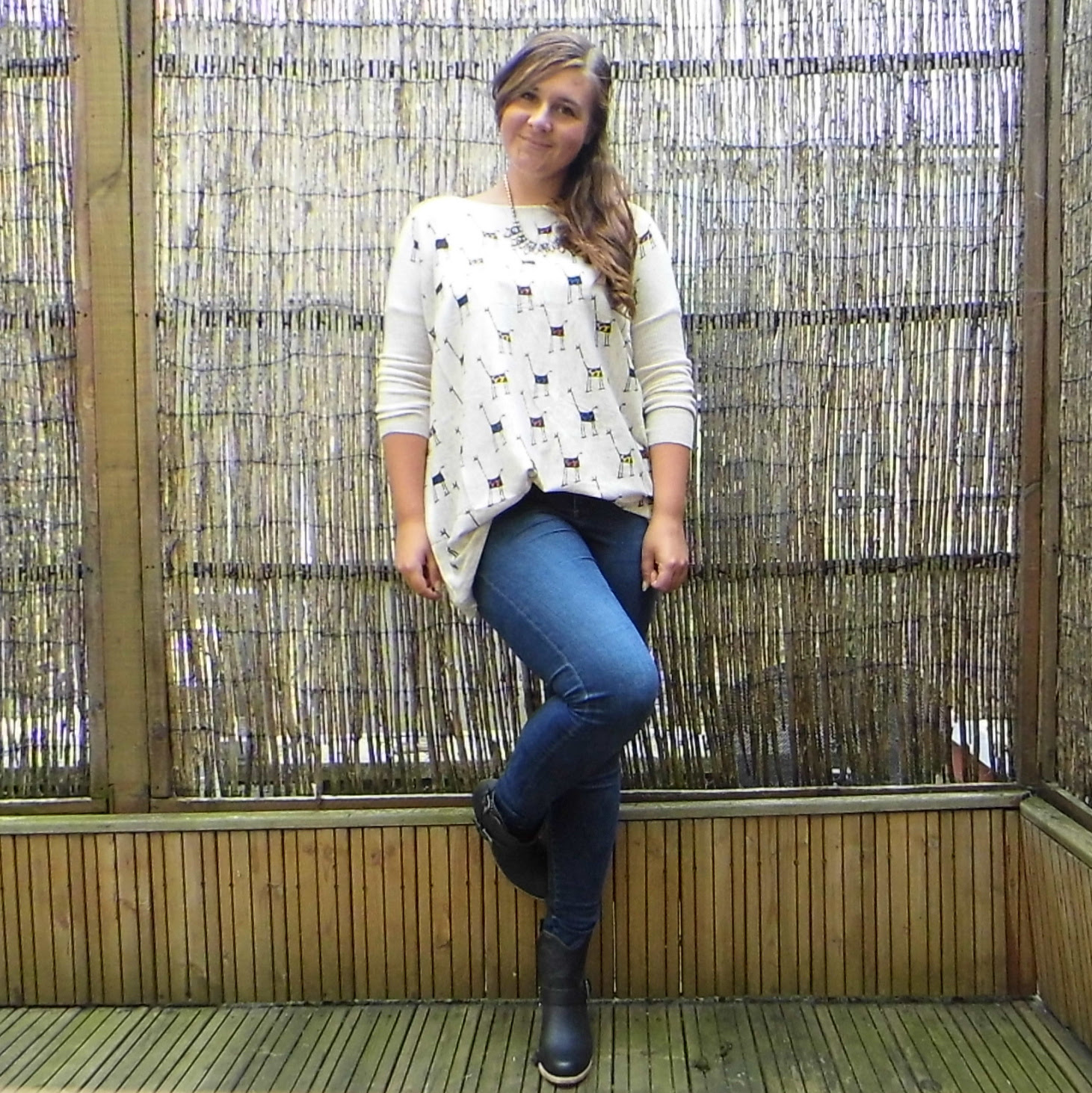 Giraffe Jumper & Jamie Jeans Topshop & Xti Ankle boots 2