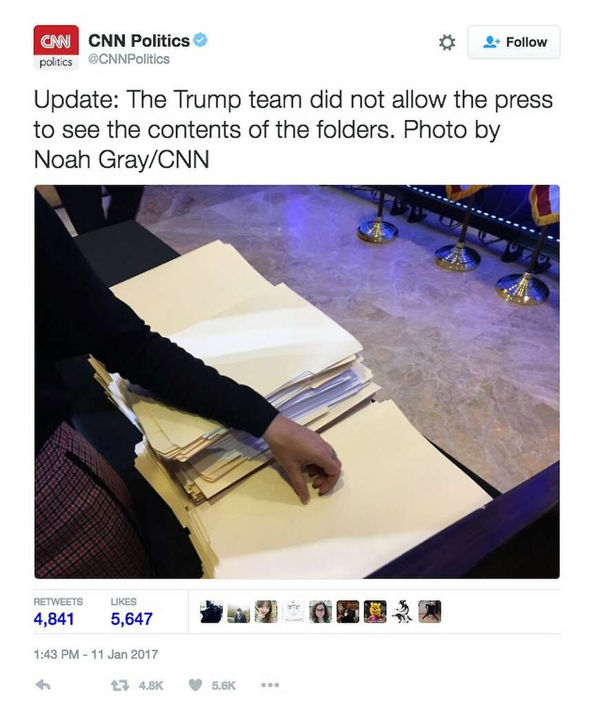 Reporters were blocked from examining the documents, which appear to lack labels, sticky notes or any writing. Photo: CNN/Twitter