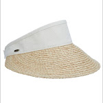 Scala Dorfman Pacific Raffia Visor Dyed Cotton Crown Hat Linen with Interior Sweatband, Beige