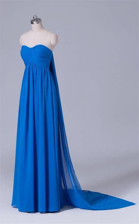 Blue Chiffon Sweetheart Neckline Long Bridesmaid Dress in