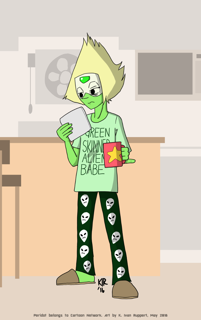 Peridot's had a busy time of it lately. Now that the Cluster thing is put to bed, I think she's earned a few lazy days.