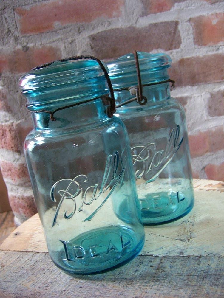 Vintage Ball Ideal Quart Mason Jars - Set Of Two