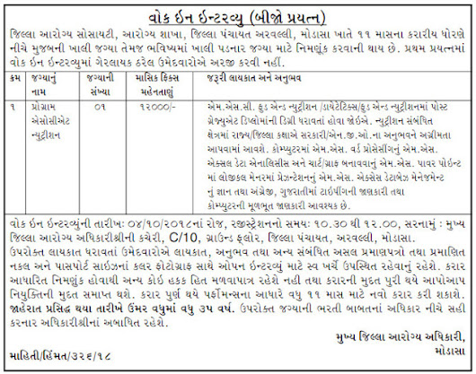 District Health Society, Aravalli Recruitment for Programme Associate Nutrition Posts 2018 – Amaru Gujarat