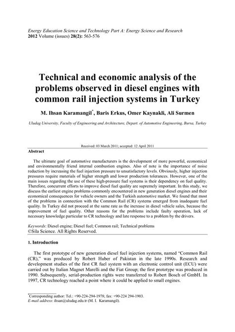 (PDF) Technical and economic analysis of the problems