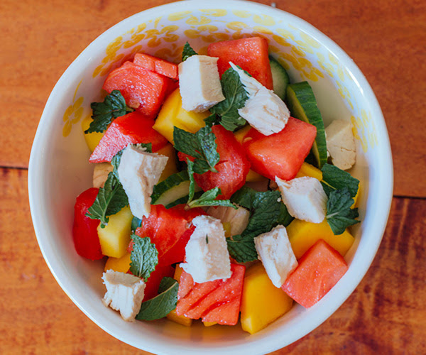Cucumber Watermelon and Mango Salad