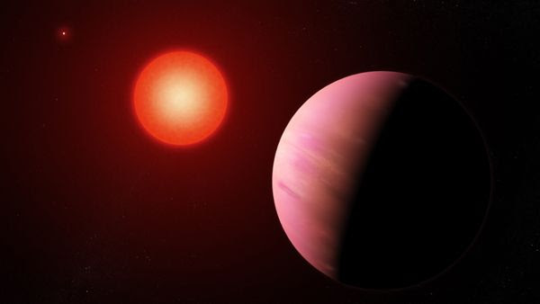 An artist's concept of the exoplanet K2-288Bb orbiting the fainter member of a pair of cool M-type stars.