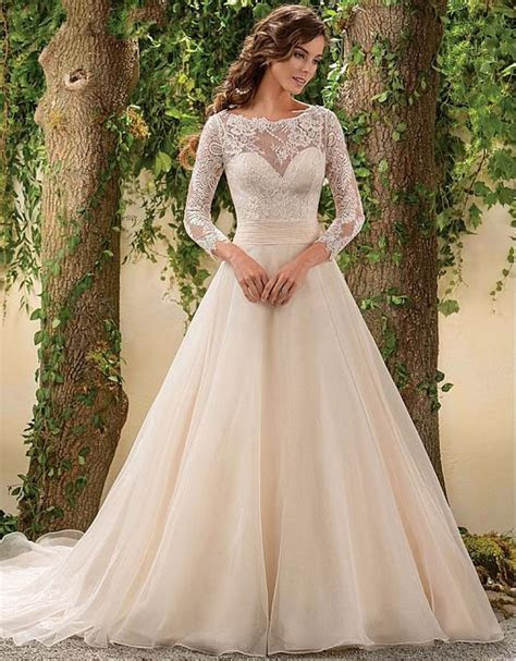 Long Sleeve Lace Wedding Dress Vintage A Line Chiffon