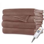 Sunbeam Velvet Microplush Electric Heated Throw Blanket Acorn Brown Washable Auto Shut Off 3 Heat Settings