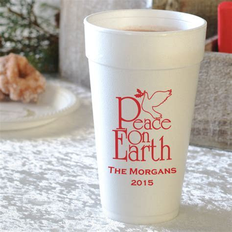 Christmas Party Cups   20 Oz. Styrofoam Personalized