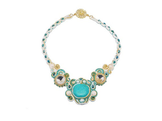 Free shipping USA & Canada. Soutache Necklace with Howlite, Freshwater Pearls. Turquoise White Gold Bib Necklace. Bead Embroidered Jewelry