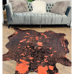 Real Leather Metallic Red Cowhide 5' x 8' (appx.) / Red Metallic