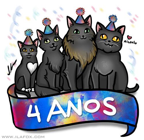 4 anos de blog, gatos, quatro gatos, gatos pretos, by ila fox