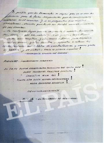 Iñaki Bilbao, firma su carta como Txikito.