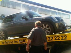 MINI being towed