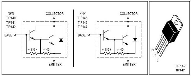 TIP 142-TIP 147 Pin Out Diagram and Schematics