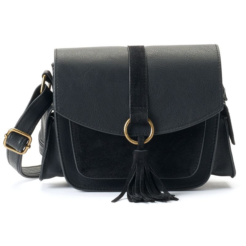 T-Shirt & Jeans Tassel Crossbody Bag, Women's, Black