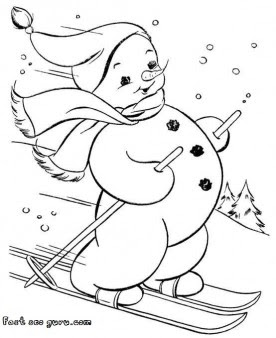 print out snowman on skis coloring page  free printable coloring pages for kids