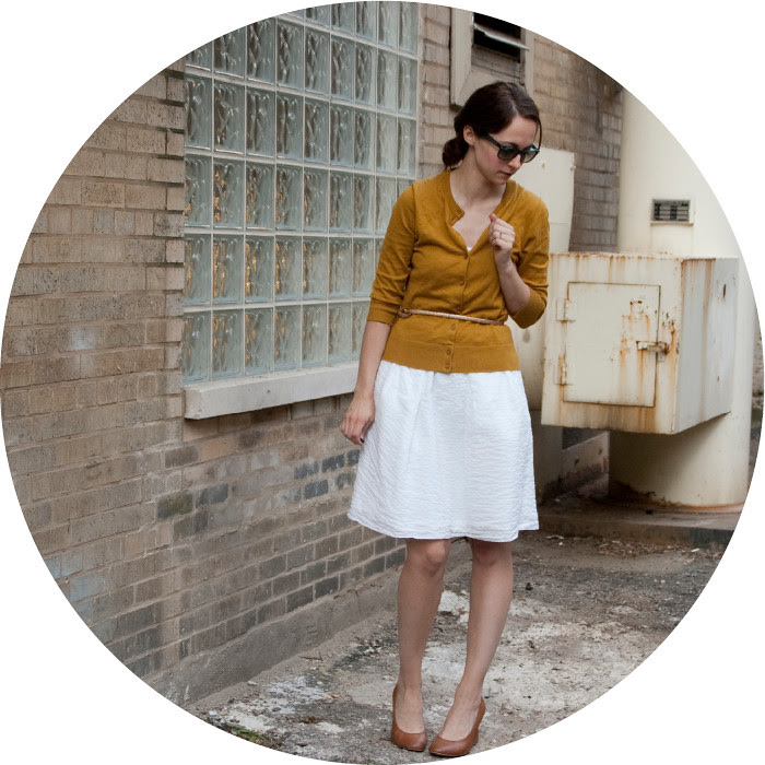 layering a dress for work, dress and cardigan, crewed out, mustard cardigan, tan wedges, belted cardigan, ootd, how to wear, dash dot dotty