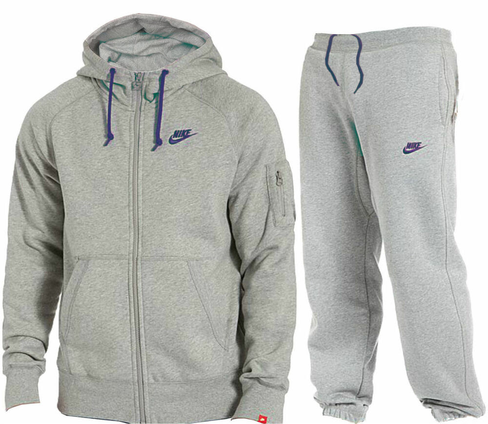 new mens fleece grey foundation nike full tracksuit hooded