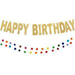 "Happy Birthday Gold Glitter Felt Party Banner 71"" + Rainbow Pom Pom Garland 112""(Paper)"