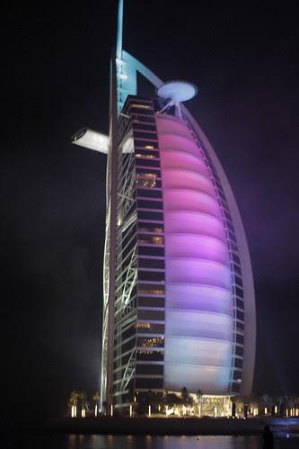 Burj, at night