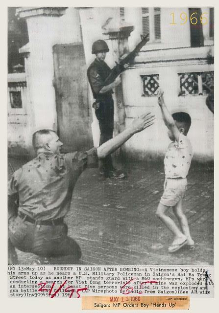 1966 Boy 'Surrenders' to U.S. MP after Bomb Blast in Saigon