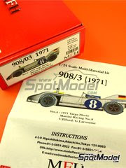 Maqueta de coche 1/24 Model Factory Hiro - Porsche 908/03 Martini Racing Nº 8 - Vic Elford + Gerard Larrouse - Targa Florio 1971 - kit multimaterial image