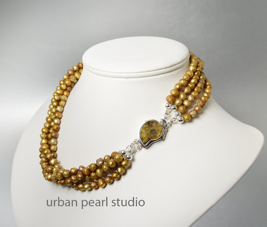 Mother of the Bride Gold Pearl Necklace Layered Twisted Pearl Necklace – Urban Pearl Studio