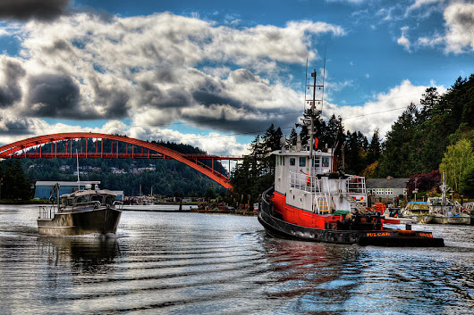 Tugboat At The Rainbow Bridge by David Patterson