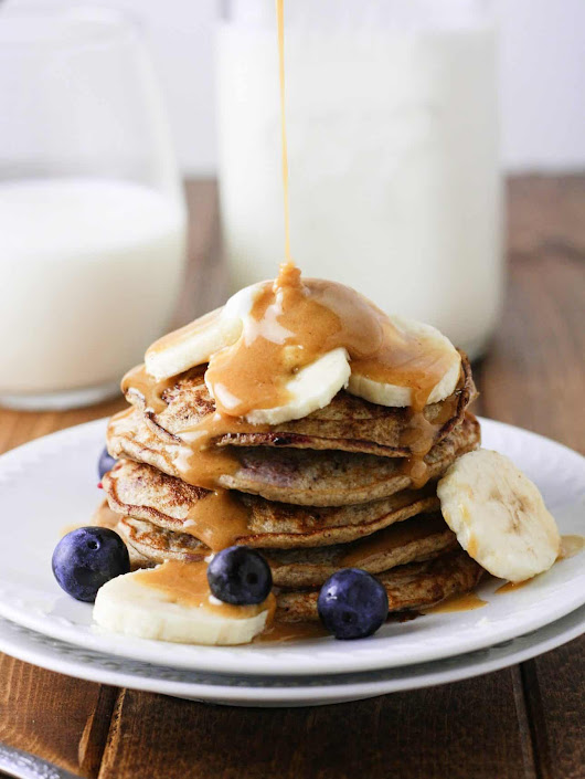 Skinny Banana Blueberry Pancakes - It's Cheat Day Everyday