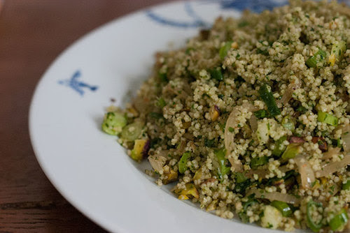 herb couscous with toasted pistachios