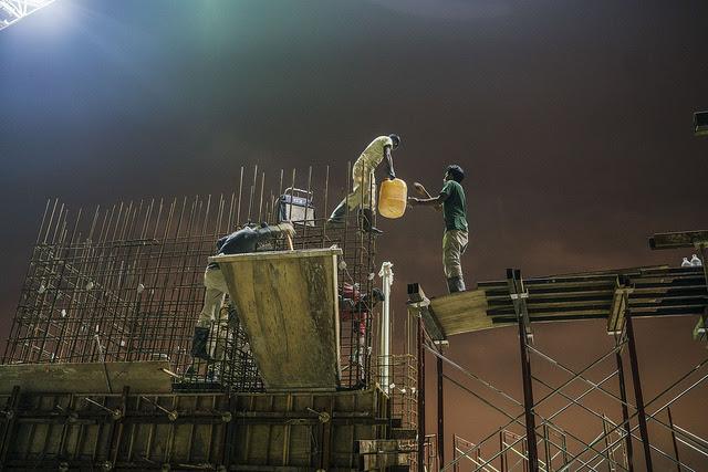 A construction site in Ampang, Kuala Lumpur, where Abul Hossain works. Credit: Shahidul Alam/IPS