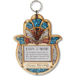 My Daily Styles Wooden Hamsa Blessing for Home - Good Luck Wall Decor with Simulated Gemstones