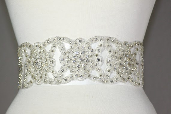 Bling Wedding Belt wedding sash bling wedding belt ivory silver ceremony