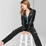 Women's Faux Leather Moto Jacket - Wild Fable Black