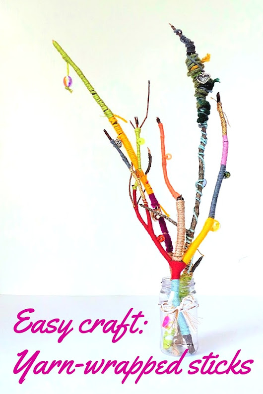 Yarn craft for kids: wool wrapped sticks - Hodge Podge Craft