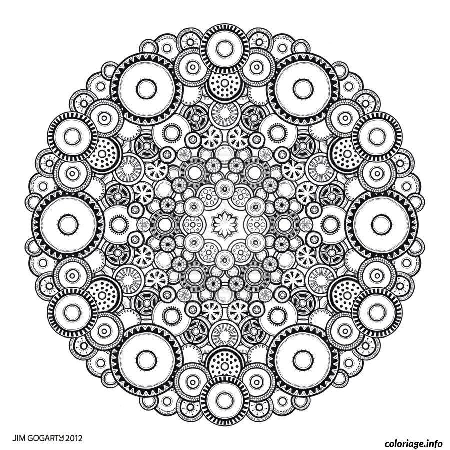 Coloriage Difficile Adulte Mandala Rond Dessin  Imprimer