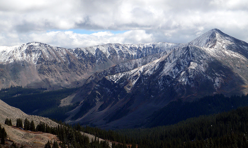 Some early snow blankets the Sawatch Range on the east side of Cottonwood Pass.