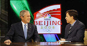 English: US President George W. Bush speaks wi...