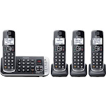 Panasonic - KX-TGE674B DECT 6.0 Expandable Cordless Phone System with Digital Answering System - Black