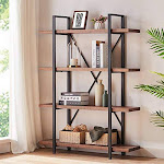 Hsh Solid Wood Bookshelf 4 Tier Rustic Vintage Industrial Etagere Bookcase Open Metal Farmhouse Book Shelf Distressed Brown