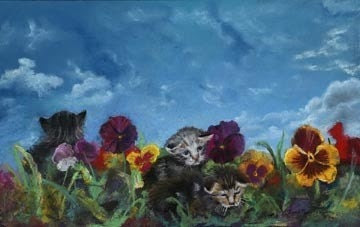 Kittens and Pansies Giclee