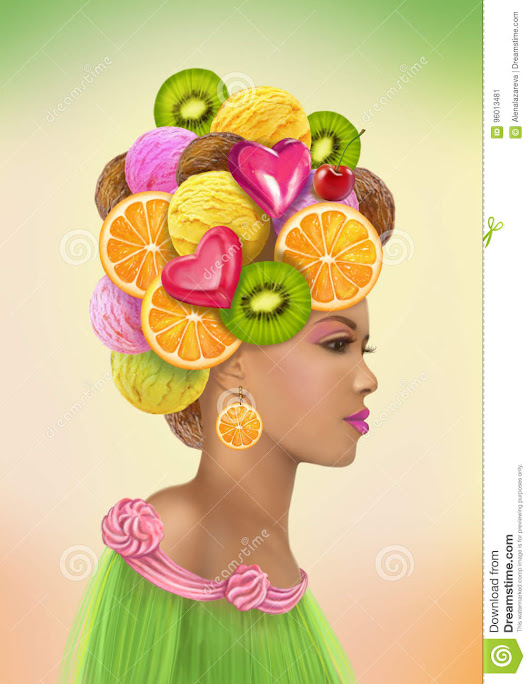 Fashion portrait  woman in a hat of sweets.