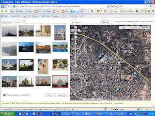 La imagen muestra el proyecto de Google Panoramio con mapa y fotos del Taj Mahal (Map,Photos, Pictures of Taj Mahal