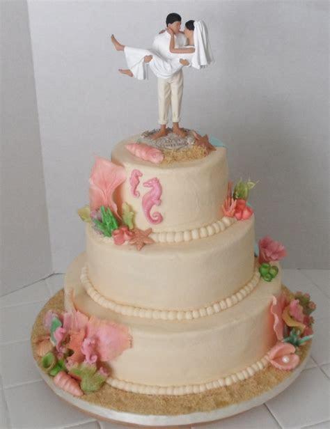 Beach Themed 3 Tier Wedding Cake   CakeCentral.com