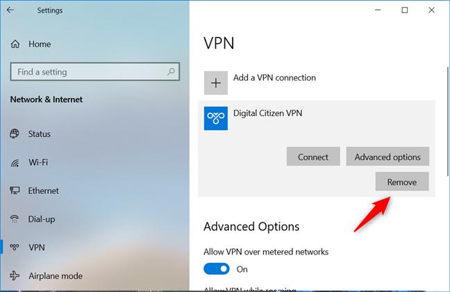 Elegir eliminar una conexión VPN de una PC con Windows 10