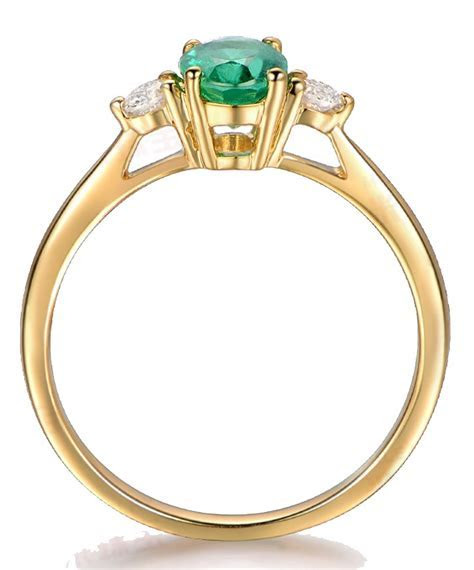 Trilogy Half Carat oval cut Emerald and Round Diamond