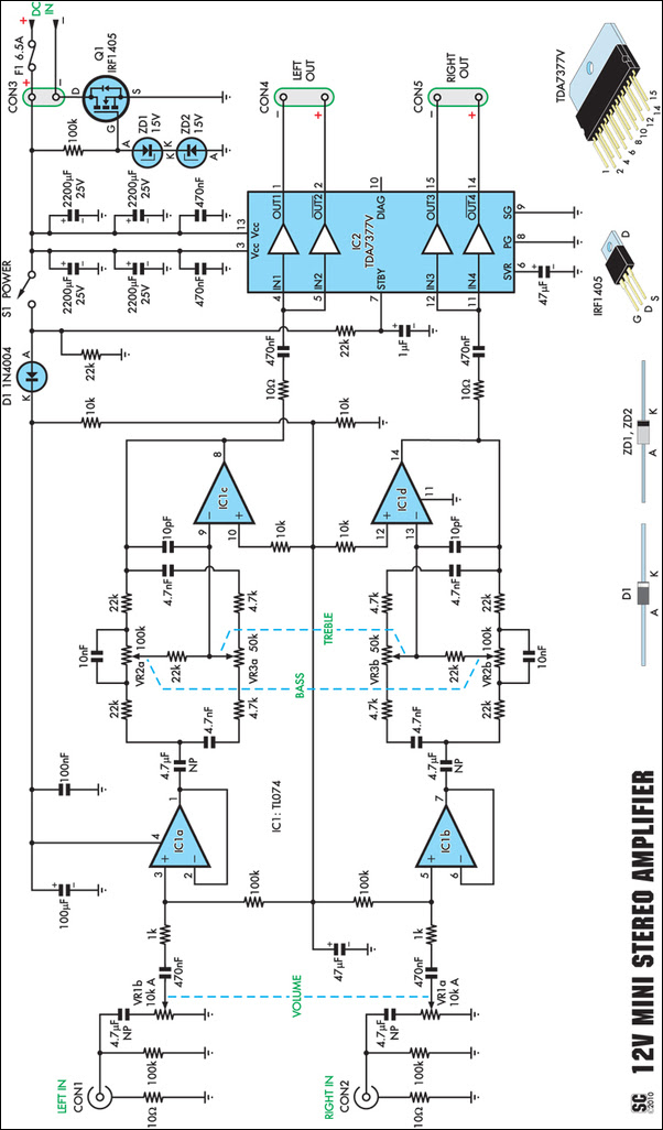 Stereo Amplifier Block Diagram
