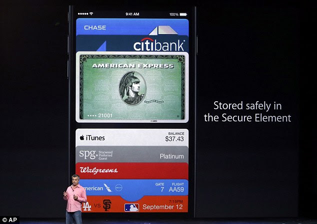 Apple Pay (pictured being demonstrated by Apple's Eddy Cue) is the firm¿s new payment system compatible with the iPhone 6, iPhone 6 Plus and the Apple Watch. If an iPhone is lost, users can suspend all payments via Find my iPhone . This won¿t cancel the cards because card details themselves are not stored on that device